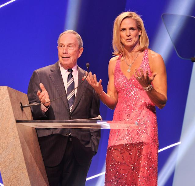 NEW YORK, NY - NOVEMBER 19: NYC mayor Michael Bloomberg and Olympic athlete Dara Torres attend the 2012 Golden Goggle awards at the Marriott Marquis Times Square on November 19, 2012 in New York City. (Photo by Stephen Lovekin/Getty Images)