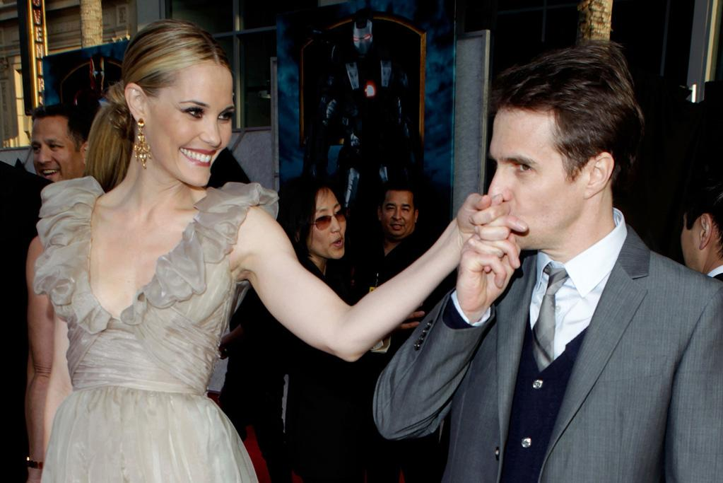"""<a href=""""http://movies.yahoo.com/movie/contributor/1800355599"""">Leslie Bibb</a> and <a href=""""http://movies.yahoo.com/movie/contributor/1800021961"""">Sam Rockwell</a> at the Los Angeles premiere of <a href=""""http://movies.yahoo.com/movie/1810026429/info"""">Iron Man 2</a> - 04/26/2010"""