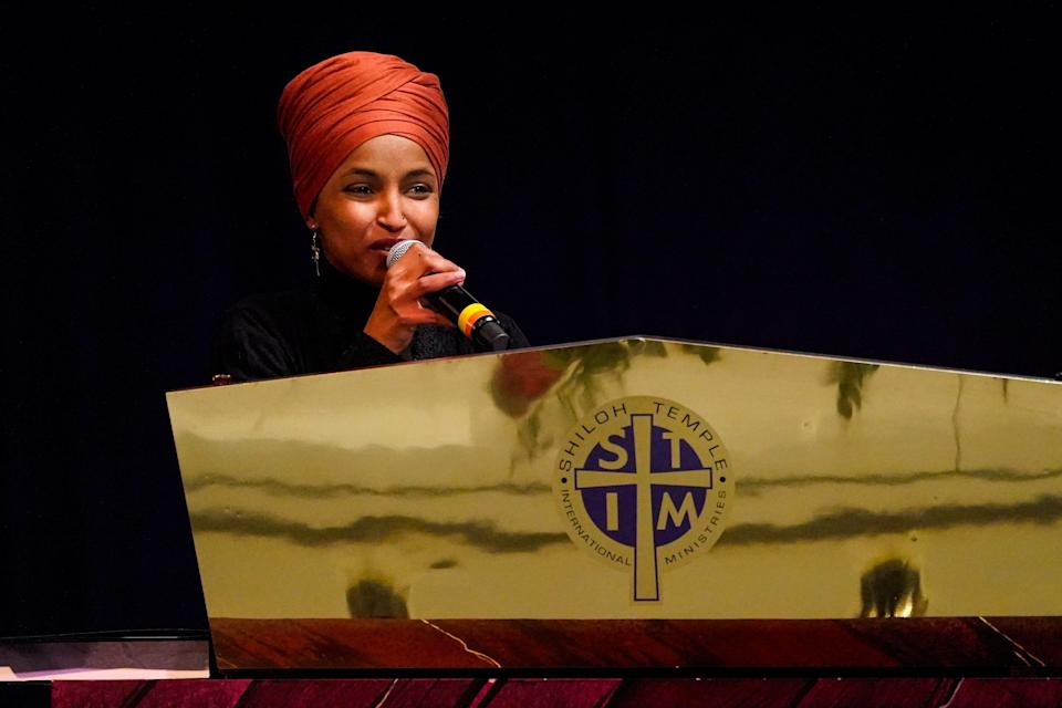 Rep. Ilhan Omar, D-Minn. speaks during funeral services of Daunte Wright.