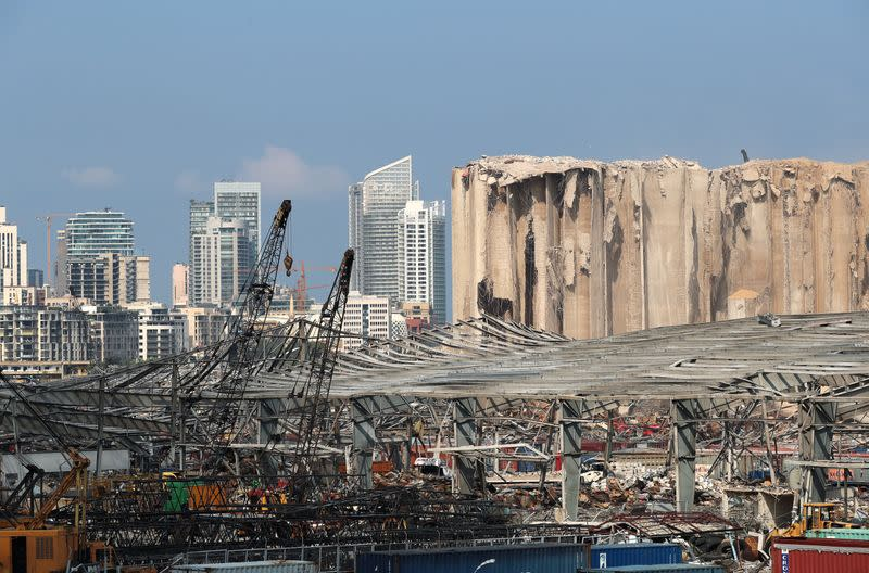 A view shows damages at the site of a massive explosion in Beirut's port area