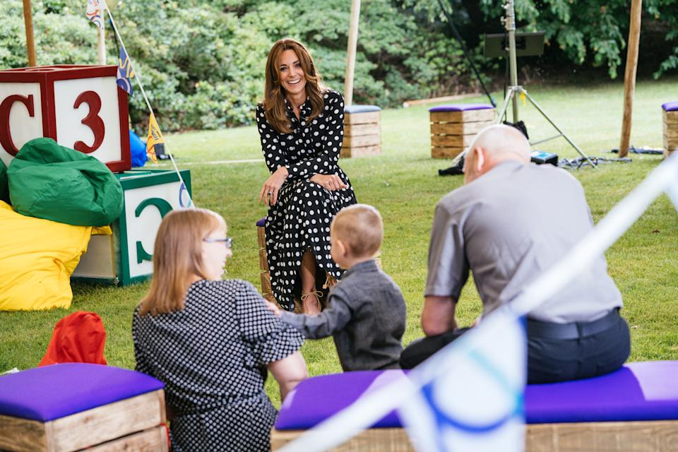 EMBARGOED TO 2230 MONDAY JULY 13    Undated handout photo issued by Kensington Palace of the Duchess of Cambridge (centre) with Kerry, Darren and their two-year-old son Dexter, to mark the launch of a new BBC education resource called Tiny Happy People. PA Photo. Issue date: Monday July 13, 2020. The project is aimed at helping develop children's communication and language skills. The duchess met with three families who have been involved in the creation and piloting of the digital platform of free activity and play ideas for 0-4 year olds. See PA story ROYAL Kate. Photo credit should read: Kensington Palace/PA Wire    NOTE TO EDITORS: This handout photo may only be used in for editorial reporting purposes for the contemporaneous illustration of events, things or the people in the image or facts mentioned in the caption. Reuse of the picture may require further permission from the copyright holder.
