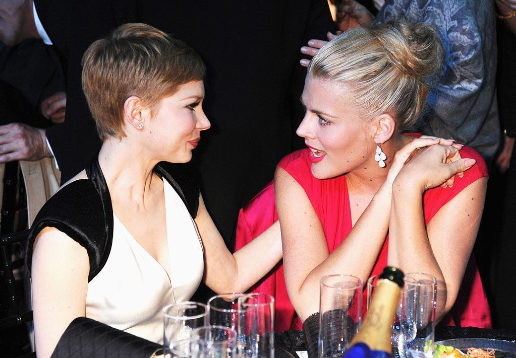 """<a href=""""http://movies.yahoo.com/movie/contributor/1800018861"""">Michelle Williams</a> and <a href=""""http://movies.yahoo.com/movie/contributor/1800355565"""">Busy Phillips</a> at the 17th Annual Critics' Choice Awards reception in Hollywood on January 12, 2012."""