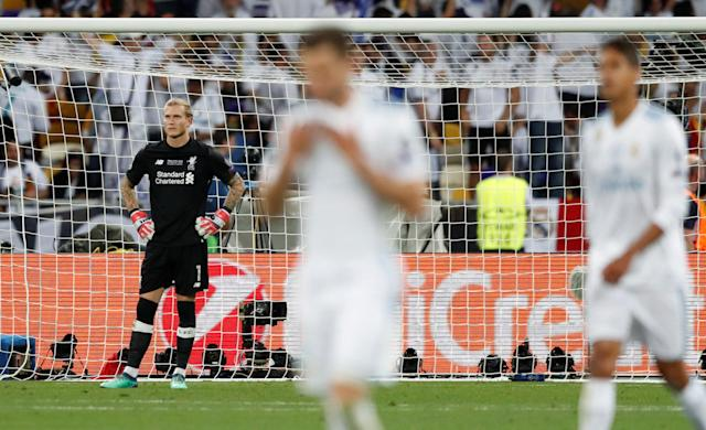 Soccer Football - Champions League Final - Real Madrid v Liverpool - NSC Olympic Stadium, Kiev, Ukraine - May 26, 2018 Liverpool's Loris Karius looks dejected after Real Madrid's Gareth Bale scores their third goal REUTERS/Andrew Boyers