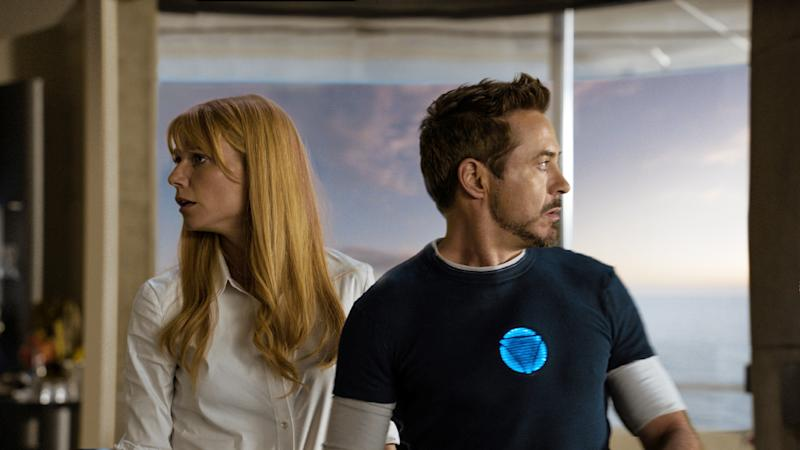 "This film publicity image released by Disney-Marvel Studios shows Gwyneth Paltrow as Pepper Potts, left, and Robert Downey Jr. as Tony Stark in a scene from ""Iron Man 3."" (AP Photo/Disney, Marvel Studios)"