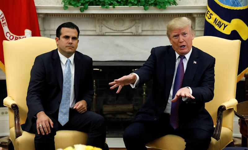 """I think we've done a really great job,"" President Donald Trump said Thursday about his response to Puerto Rico's disaster. Nearly 1 million Americans there have no drinking water, and haven't for a month. (Kevin Lamarque / Reuters)"