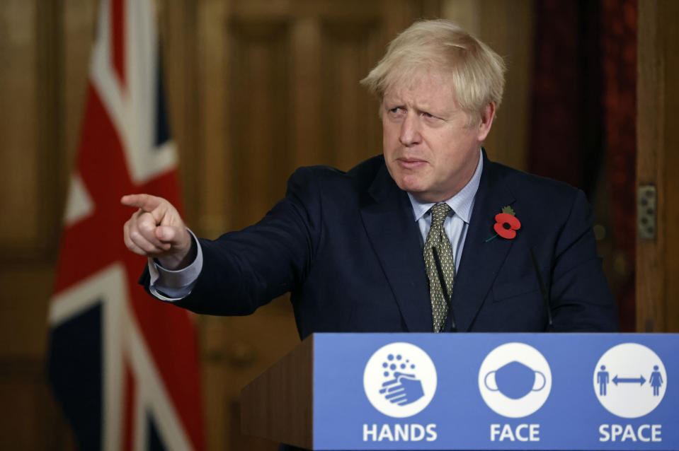 Prime Minister Boris Johnson speaks during a virtual press conference at 10 Downing Street on November 9, 2020 in London, England. (Photo by Tolga Akmen - WPA Pool/Getty Images)