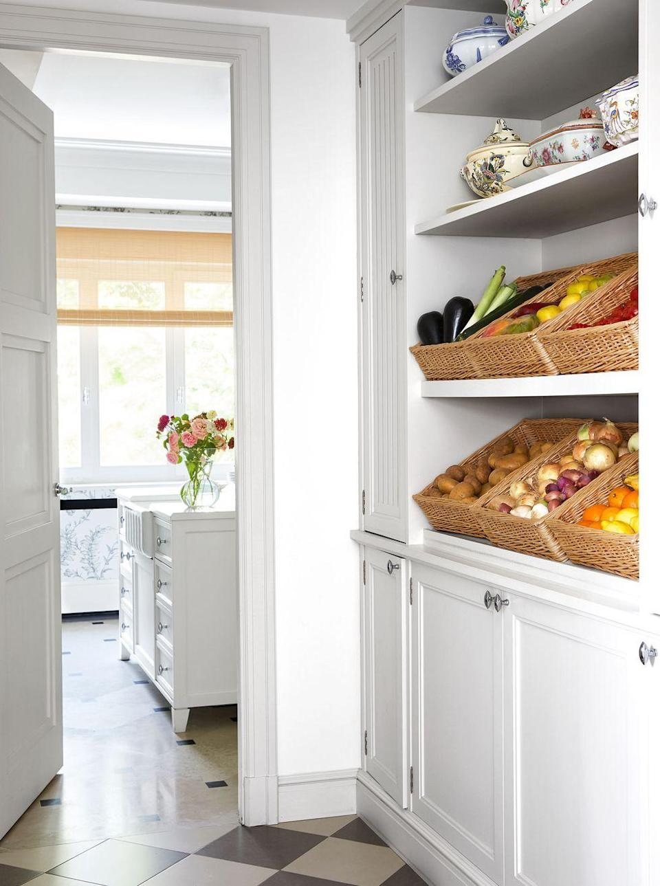 """<p>Whether you've gotten really into <a href=""""https://www.elledecor.com/life-culture/food-drink/g32080904/bake-bread-at-home/"""" rel=""""nofollow noopener"""" target=""""_blank"""" data-ylk=""""slk:baking"""" class=""""link rapid-noclick-resp"""">baking</a> this year or simply have more mouths to feed at home, increased kitchen storage is an absolute necessity and will continue to be in 2021. So get out your baskets and take a cue from the pantry of this chic <a href=""""https://www.elledecor.com/design-decorate/house-interiors/a34238830/isabel-lopez-quesada-madrid-apartment/"""" rel=""""nofollow noopener"""" target=""""_blank"""" data-ylk=""""slk:Madrid apartment"""" class=""""link rapid-noclick-resp"""">Madrid apartment</a> (which just happens to be the onetime home of screen legend Ava Gardner).</p>"""