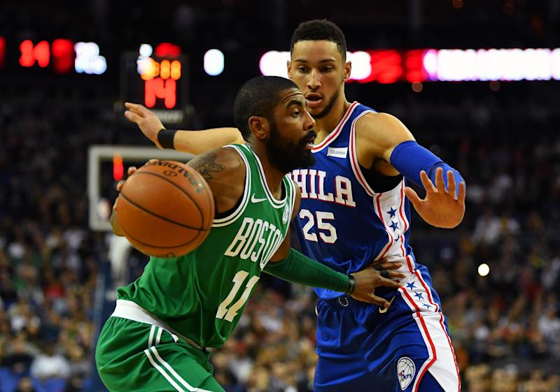 London matchup | Kyrie Irving and Ben Simmons face off at the O2: Getty Images