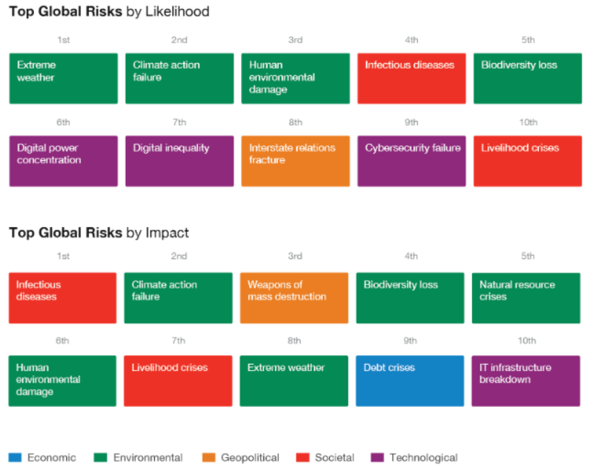 Top global risks by likelihood and impact, according to global leaders surveyed by the World Economic Forum (WEF). Chart: WEF Global Risks Report 2021