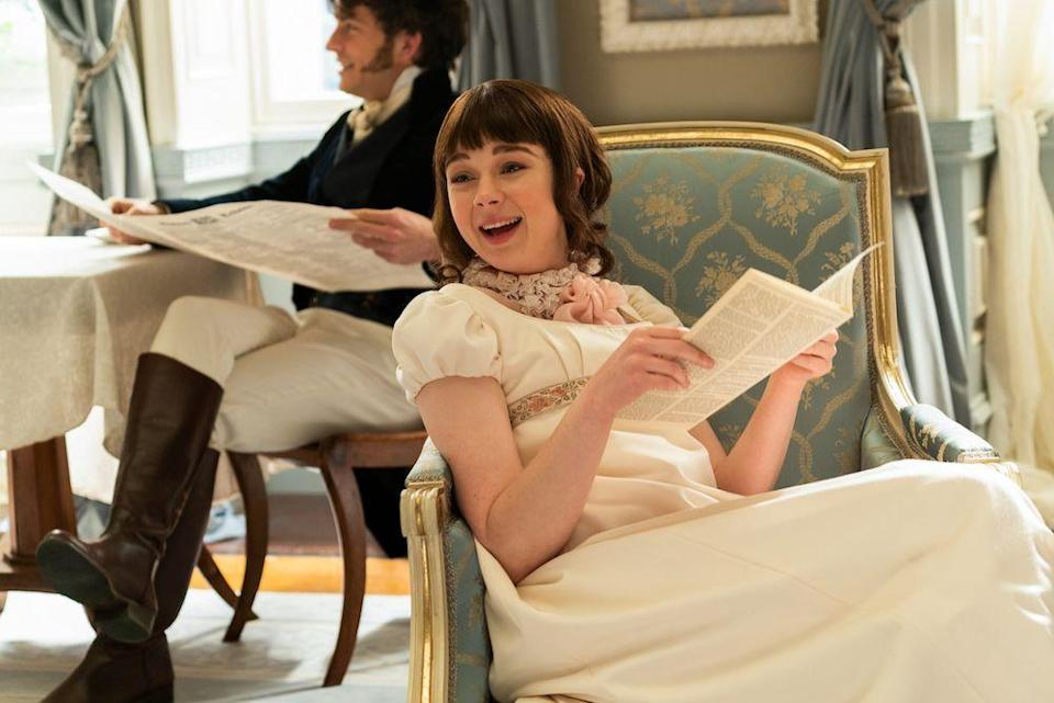 """<p>Who needs love? Eloise Bridgerton wants only one thing: To learn the identity of Lady Whistledown. Prior to playing the second oldest Bridgerton sister in the Netflix show, British actress Claudie Jessie starred in <em><a href=""""https://www.amazon.com/Season-1-Official-Trailer/dp/B086R6JP94?tag=syn-yahoo-20&ascsubtag=%5Bartid%7C10072.g.34930956%5Bsrc%7Cyahoo-us"""" rel=""""nofollow noopener"""" target=""""_blank"""" data-ylk=""""slk:Vanity Fair"""" class=""""link rapid-noclick-resp"""">Vanity Fair</a> </em>(another period piece) and in the <a href=""""https://www.bbc.co.uk/programmes/b03vp31f"""" rel=""""nofollow noopener"""" target=""""_blank"""" data-ylk=""""slk:BBC drama WPC56"""" class=""""link rapid-noclick-resp"""">BBC drama WPC56</a>.  </p>"""