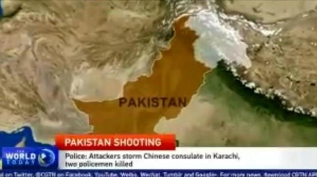 China's international news channel CGTN showed the entire state of Jammu and Kashmir as part of India.