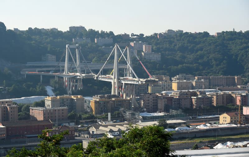 FILE PHOTO: General view of Morandi Bridge, before controlled explosions will demolish two of its pylons almost one year since a section of the viaduct collapsed killing 43 people, in Genoa