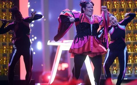 Israel's singer Netta performs the song Toy during the first of 2018's semi-finals - Credit: FRANCISCO LEONG