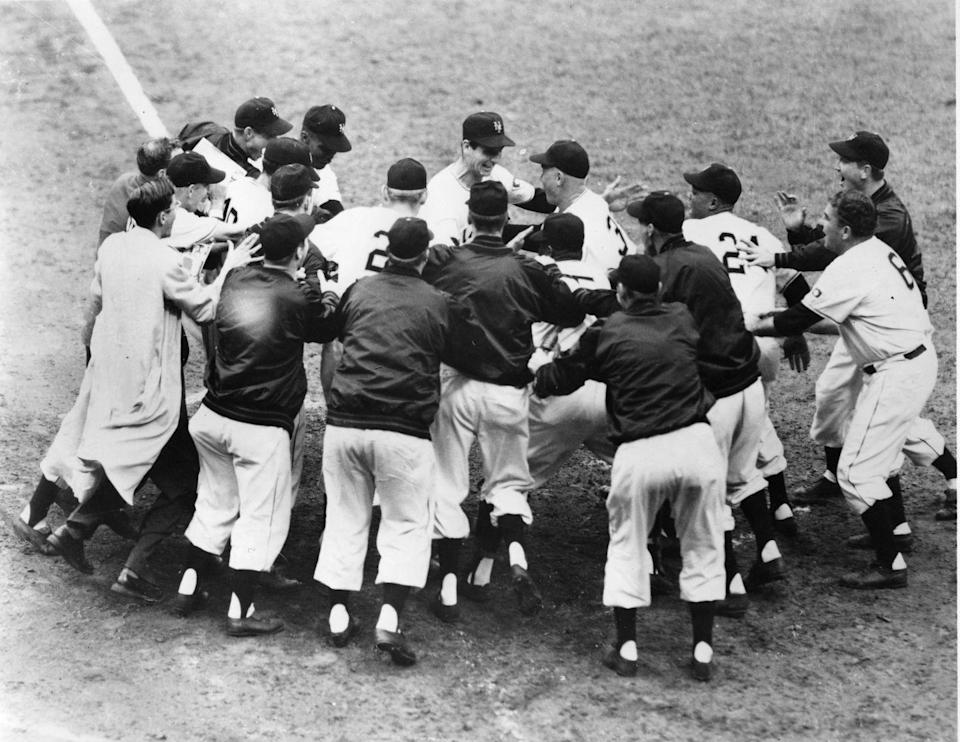"""<p><strong>October 3, 1951</strong>: In the most famous single event in all of baseball history, Bobby Thomson completes the New York Giants' improbable capture of the National League Pennant with his game-winning homer in the third and last game of the 1951 NL Playoffs. Thomson's miraculous three-run bomb culminates the Giants' scorching 37-7 run after being 13 1/2 games out of first place in their division in August—the greatest reversal of fortune of all time. """"But it also marks the ultimate turnabout in baseball history,"""" says Thorn. """"The Brooklyn Dodgers not only lost the pennant, but lost it crushingly with one out in the bottom of the ninth of the final playoff game."""" The shot is particularly enduring because of Giants radio announcer Russ Hodges' jubilant call: """"The Giants win the pennant! The Giants win the pennant!""""<br> </p>"""