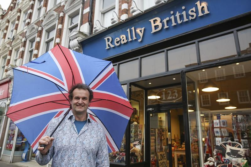 Chris Ostwald, 54, outside his 'Really British' store in Muswell Hill, north London (SWNS)
