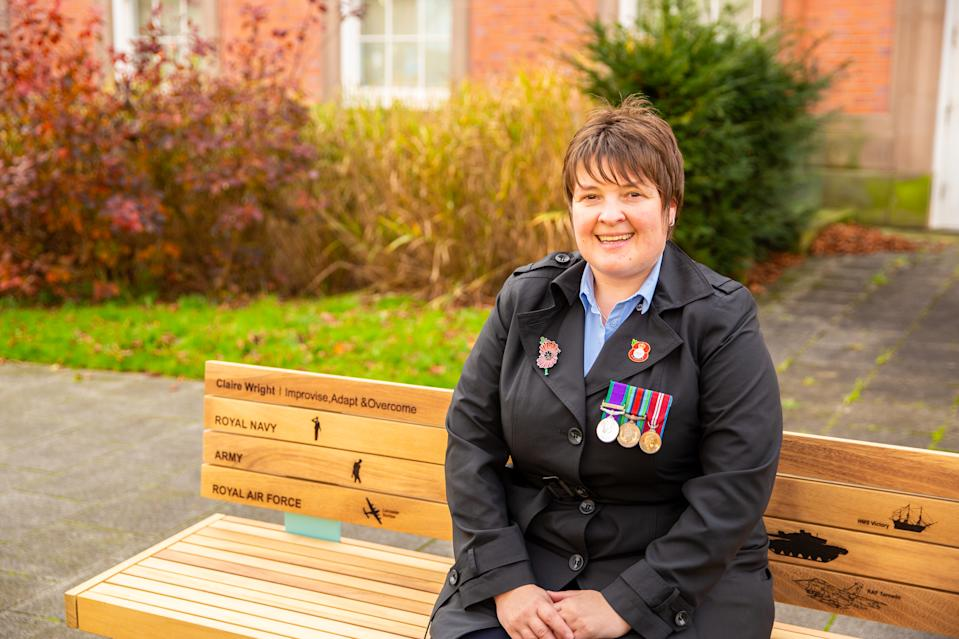 Claire's commitment to supporting elderly veterans have been commemorated with a bench - placed in the grounds of Trafford Town Hall