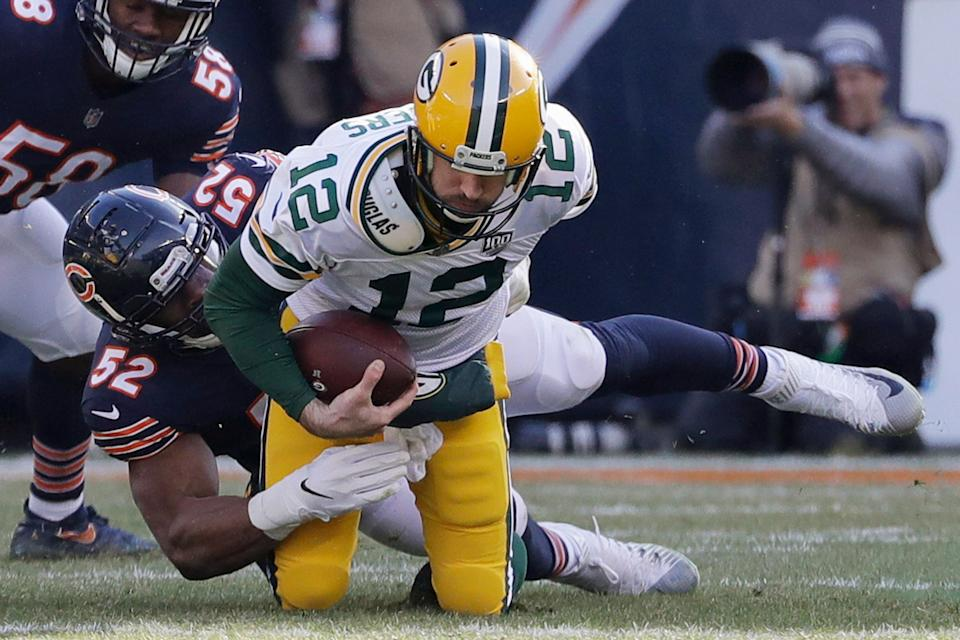Chicago Bears linebacker Khalil Mack (52) sacks Green Bay Packers quarterback Aaron Rodgers (12) during the first half of an NFL football game Sunday, Dec. 16, 2018, in Chicago. (AP Photo/Nam Y. Huh)