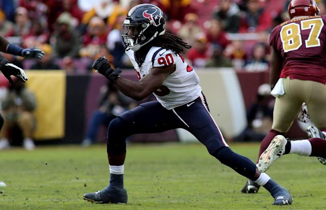 Houston Texans outside linebacker Jadeveon Clowney (90) was given the franchise tag. (AP)