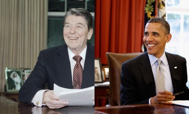 "Although President Obama wouldn't exactly call Reagan a role model, he has called him a ""transformational president."""
