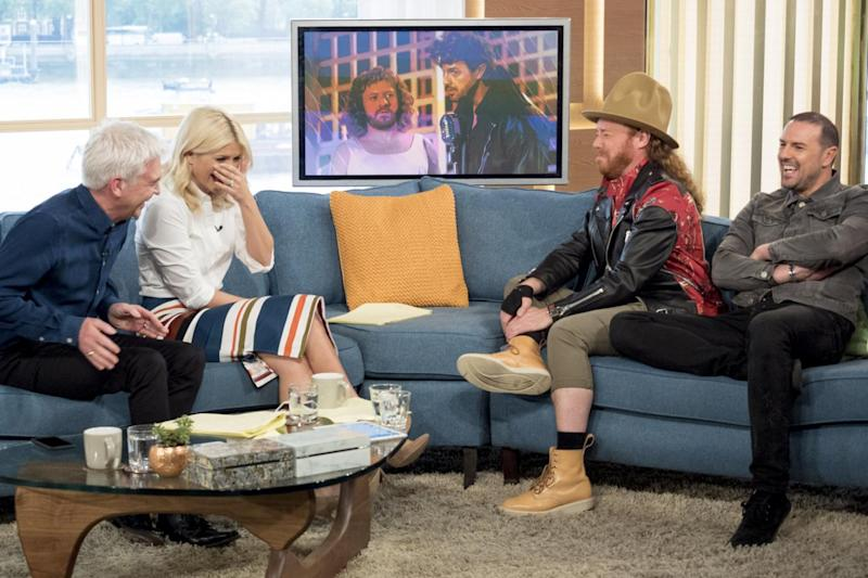 Laughing: Phillip Schofield and Holly Willoughby with Keith Lemon and Paddy McGuinness (Ken McKay/ITV/Rex)