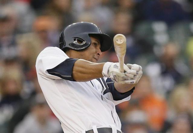 Detroit Tigers' Anthony Gose bats during the second inning of a baseball game against the Oakland Athletics, Wednesday, April 27, 2016, in Detroit. (AP Photo)