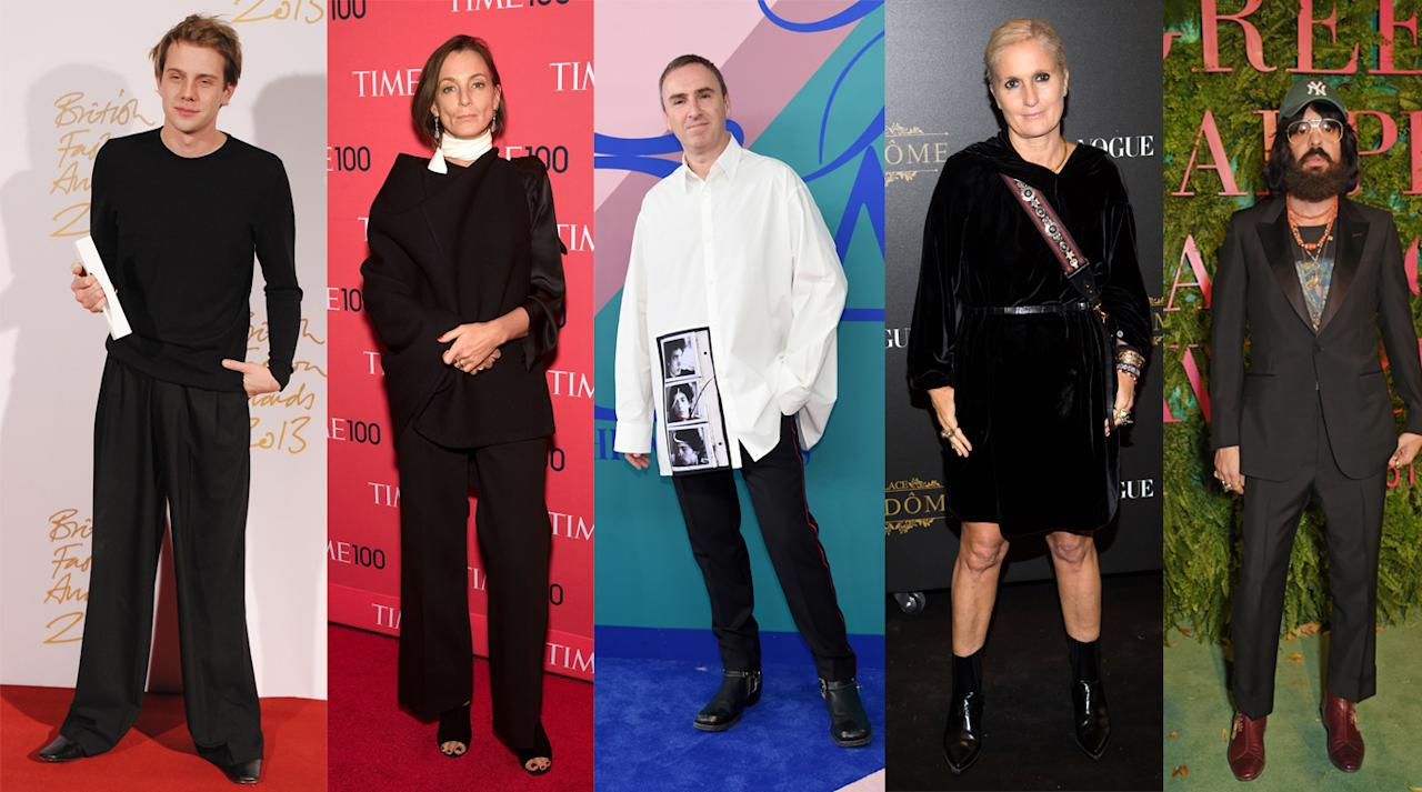 <p>Arguably the biggest award of the night, the designer of the year can go to anyone – British or not. Naturally, Alessandro Michele and Maria Grazia Chiuri are up for the award for Gucci and Dior respectively. Then, there's newcomer Raf Simons nominated for his already incredible work at Calvin Klein. Finishing off the nominee list is minimalist queen, Céline's Phoebe Philo, and Jonathan Anderson for Spanish label, Loewe.<br /><i>From left to right: Jonathan Anderson for Loewe, Phoebe Philo for Céline, Raf Simons for Calvin Klein, Maria Grazia Churi for Dior, Alessandro Michele for Gucci.</i><br /><i>[Photo: Getty]</i> </p>