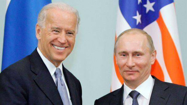 PHOTO: Then Vice President Joe Biden, left, shakes hands with Russian Prime Minister Vladimir Putin in Moscow, Russia, March 10, 2011. (Alexei Druzhinin/AP, FILE)