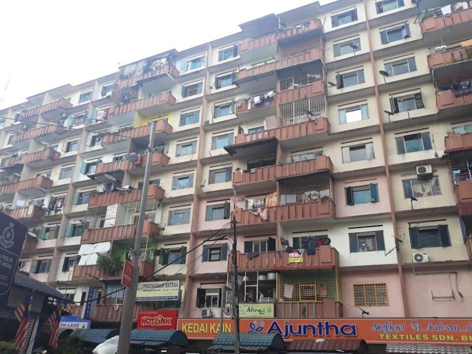 A block of flats along Jalan Masjid India, which was affected by the EMCO in April. Photo: Coconuts KL