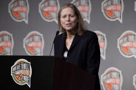 Class of 2021 inductee Val Ackerman speaks at a news conference for the Basketball Hall of Fame, Friday, Sept. 10, 2021, at Mohegan Sun in Uncasville, Conn. (AP Photo/Jessica Hill)