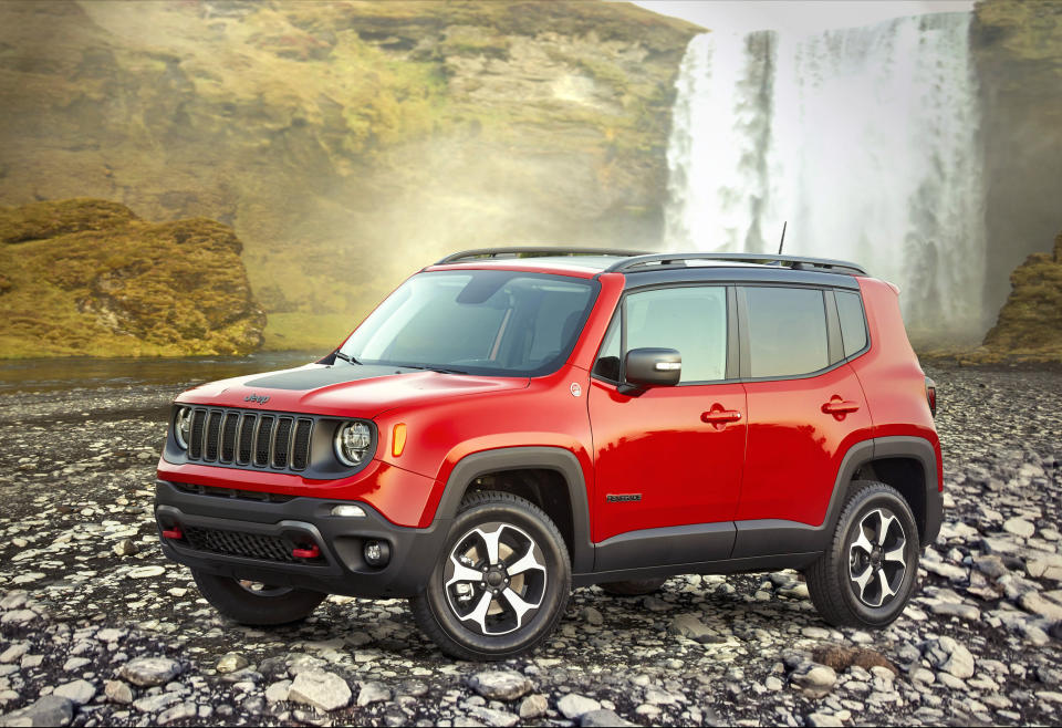 This undated photo provided by Stellantis shows the 2020 Jeep Renegade, a small SUV that offered an average savings of about 14% in August. (Stellantis via AP)