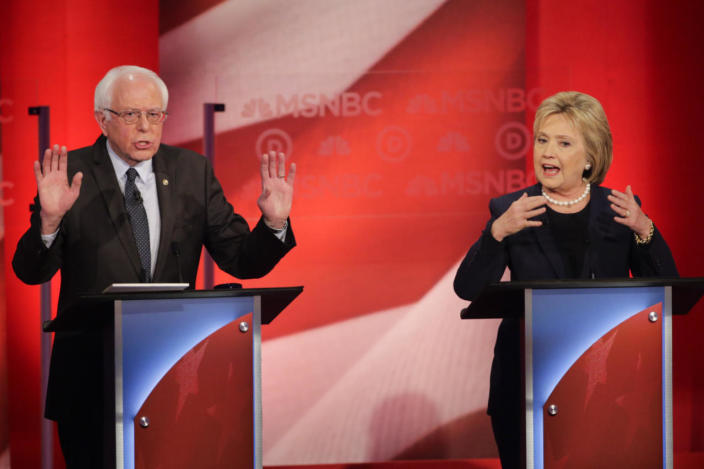 <p>Bernie Sanders and Hillary Clinton spar during a Democratic presidential primary debate hosted by MSNBC at the University of New Hampshire, Feb. 4, 2016, in Durham. <i>(Photo: David Goldman/AP)</i></p>
