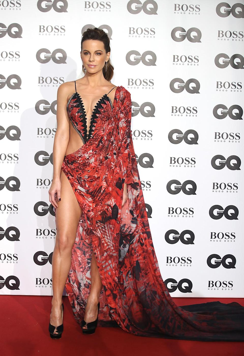 <p>Not usually one to make the headlines for her wardrobe, actress Kate Beckinsale stole the spotlight at this year's <em>GQ </em>Awards thanks to a Julien Macdonald dress. <em>[Photo: Getty]</em> </p>