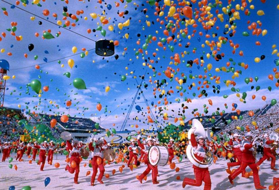 Colourful balloons are released during the opening ceremony of the Winter Olympics at the Mcmahon Stadium in Calgary, Canada, on Feb. 13, 1988.