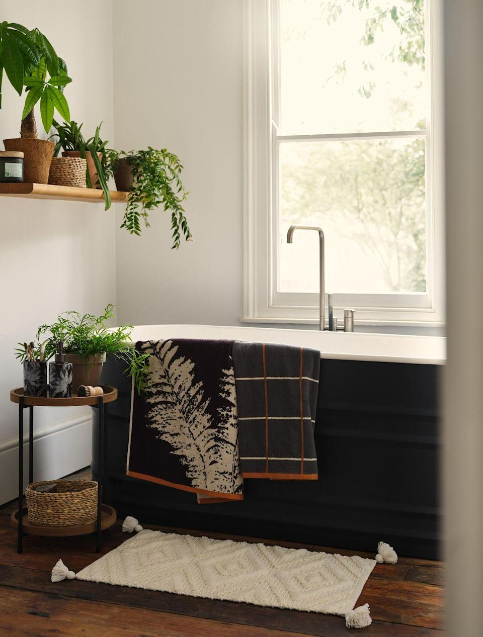 """<p>Want to update your <a href=""""https://www.housebeautiful.com/uk/renovate/build/a36741800/bathroom-renovations/"""" rel=""""nofollow noopener"""" target=""""_blank"""" data-ylk=""""slk:bathroom"""" class=""""link rapid-noclick-resp"""">bathroom</a> on a budget? Look no further than Dunelm's Forest Treasure trend, which has everything from towels (£4) to storage baskets (£8) and must-have tumbler sets (£8). Transform your space into a clean, relaxing, and bright room with these accessories. </p><p><a class=""""link rapid-noclick-resp"""" href=""""https://direct.asda.com/george/home/D26,default,sc.html"""" rel=""""nofollow noopener"""" target=""""_blank"""" data-ylk=""""slk:SHOP NOW"""">SHOP NOW</a></p>"""