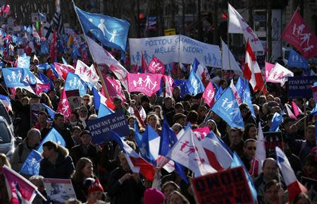 """People wave trademark pink. blue and white flags during a protest march called, """"La Manif pour Tous"""" (Demonstration for All) against France's legalisation of same-sex marriage and to show their support of traditional family values, in Paris"""