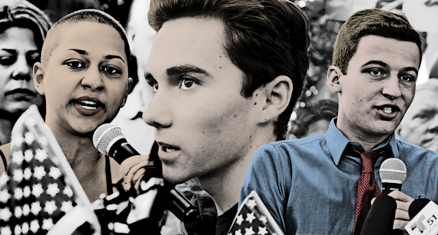 Marjory Stoneman Douglas High School students Emma Gonzalez, left, David Hogg, and Cameron Kasky raising their voices. (Photos: Getty Images, AP)