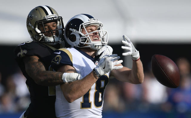 <p>New Orleans Saints cornerback P.J. Williams, left, breaks up a pass intended for Los Angeles Rams wide receiver Cooper Kupp during the first half of an NFL football game Sunday, Nov. 26, 2017, in Los Angeles. (AP Photo/Kelvin Kuo) </p>