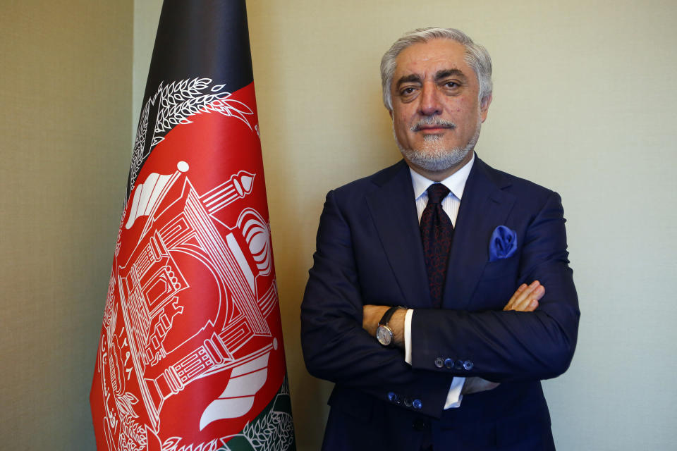 Abdullah Abdullah, head of Afghanistan's National Reconciliation Council, poses for The Associated Press following an interview on the sidelines of a diplomatic forum in Antalya, Turkey, Friday, June 18, 2021. Abdullah expressed concerns hat the Taliban will have no interest in a political settlement with the U.S.-supported government in Kabul following the departure of U.S. and NATO forces. By Sept. 11 at the latest, around 2,300-3,500 remaining U.S. troops and roughly 7,000 allied NATO forces are scheduled to leave Afghanistan,, ending nearly 20 years of military engagement. (AP Photo/Mehmet Guzel)