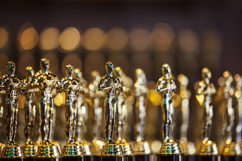 Large group of Clone/Fake golden award statues in a shop for sale in Hollywood, USA