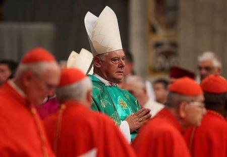 Newly elected cardinal Gerhard Ludwig Muller of Germany arrives during a consistory ceremony led by Pope Francis in Saint Peter's Basilica at the Vatican February 22, 2014. REUTERS/Alessandro Bianchi/Files