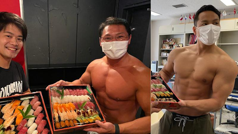 Imazushi, a high-class sushi restaurant in Nagoya, Japan came up with an amusing business strategy as business dropped during the COVID-19 pandemic: getting brawny bodybuilders to deliver sushi. (Photos: Twitter/@sushimacho)