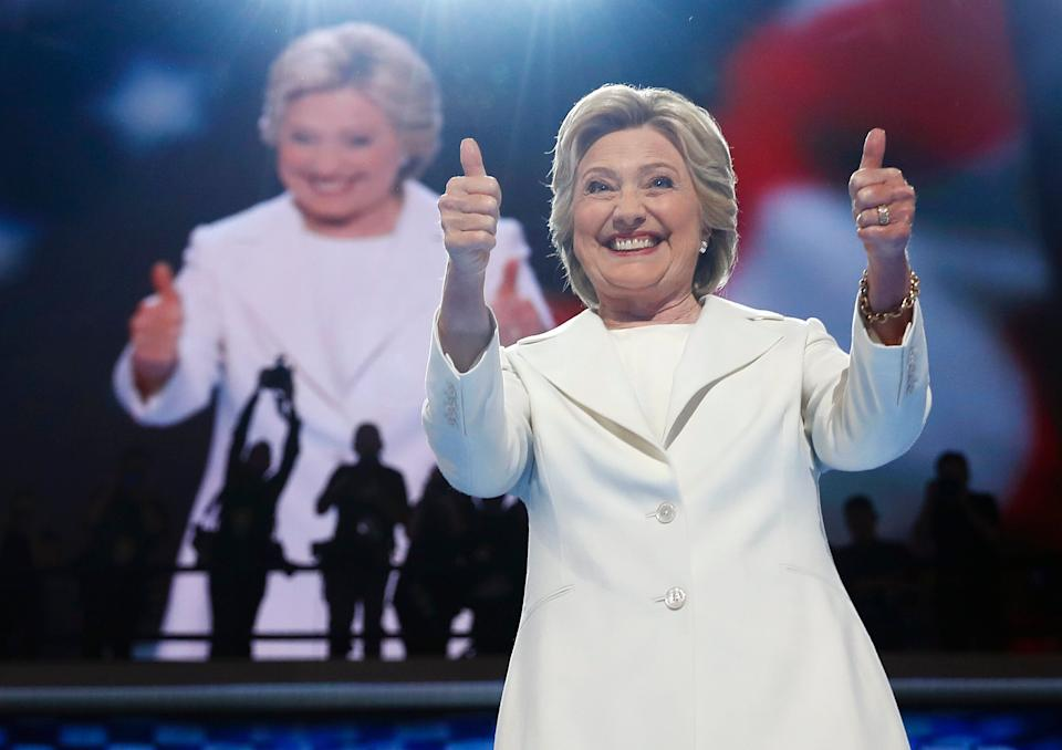 On July 28, 2016, Democratic presidential nominee Hillary Clinton gives a thumbs-up as she appears on stage during the final day of the Democratic National Convention in Philadelphia. (Photo: CAROLYN KASTER/ASSOCIATED PRESS)