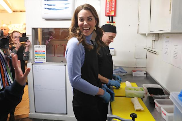 The Duchess, or the Countess of Strathearn in Scotland, helps out in the kitchen. (Getty Images).