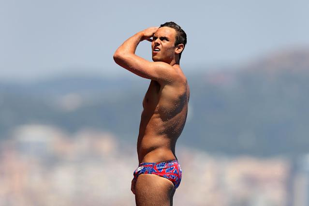 BARCELONA, SPAIN - JULY 20: Tom Daley of Great Britain participates in a training session on day one of the 15th FINA World Championships at Piscina Municipal de Montjuic on July 20, 2013 in Barcelona, Spain. (Photo by Clive Rose/Getty Images)