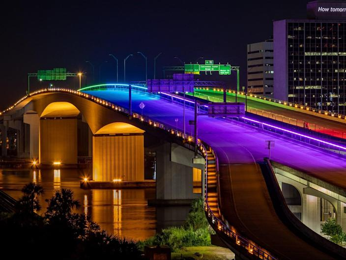 <p>The Acosta Bridge, Jacksonville, in Pride Month colours on Monday</p> (Fred Ortyl/Jacksonville Transportation Authority/Twitter)