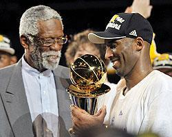 Bill Russell was on hand to help Kobe Bryant celebrate his fifth NBA title with the Lakers