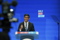 Britain's Chancellor of the Exchequer Rishi Sunak speaks during the Conservative Party Conference in Manchester, England, Monday, Oct. 4, 2021. (Peter Byrne/PA via AP)