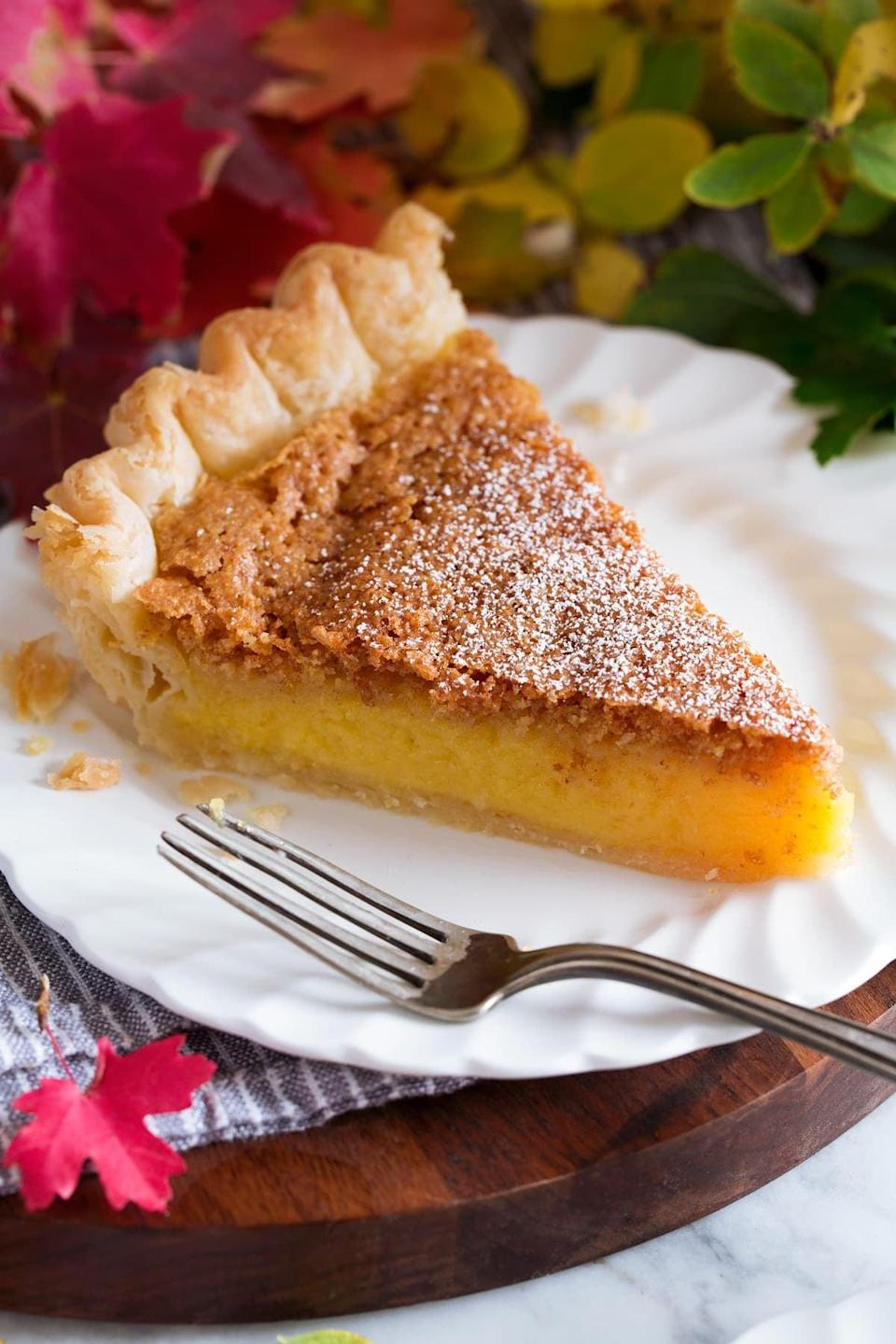 "<p>If you've never had chess pie, now's your chance to try it! This popular dessert originated in England, and is essentially a custard-style pie with a crisp browned topping. Not only is it sweet and fluffy, but it's also incredibly easy to make.</p> <p><strong>Get the recipe</strong>: <a href=""https://www.cookingclassy.com/chess-pie/"" class=""link rapid-noclick-resp"" rel=""nofollow noopener"" target=""_blank"" data-ylk=""slk:chess pie"">chess pie</a></p>"