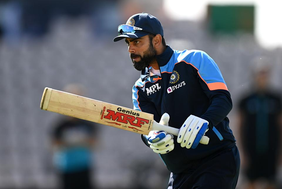 SOUTHAMPTON, ENGLAND - JUNE 23: India captain Virat Kohli warms up ahead of Day 6 of the ICC World Test Championship Final between India and New Zealand at The Ageas Bowl on June 23, 2021 in Southampton, England. (Photo by Gareth Copley-ICC/ICC via Getty Images)