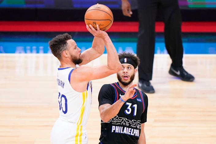 Golden State's Stephen Curry (left) and Philadelphia's Seth Curry are Nos. 1 and 3 on the list of active leaders in 3-point field goal percentage.